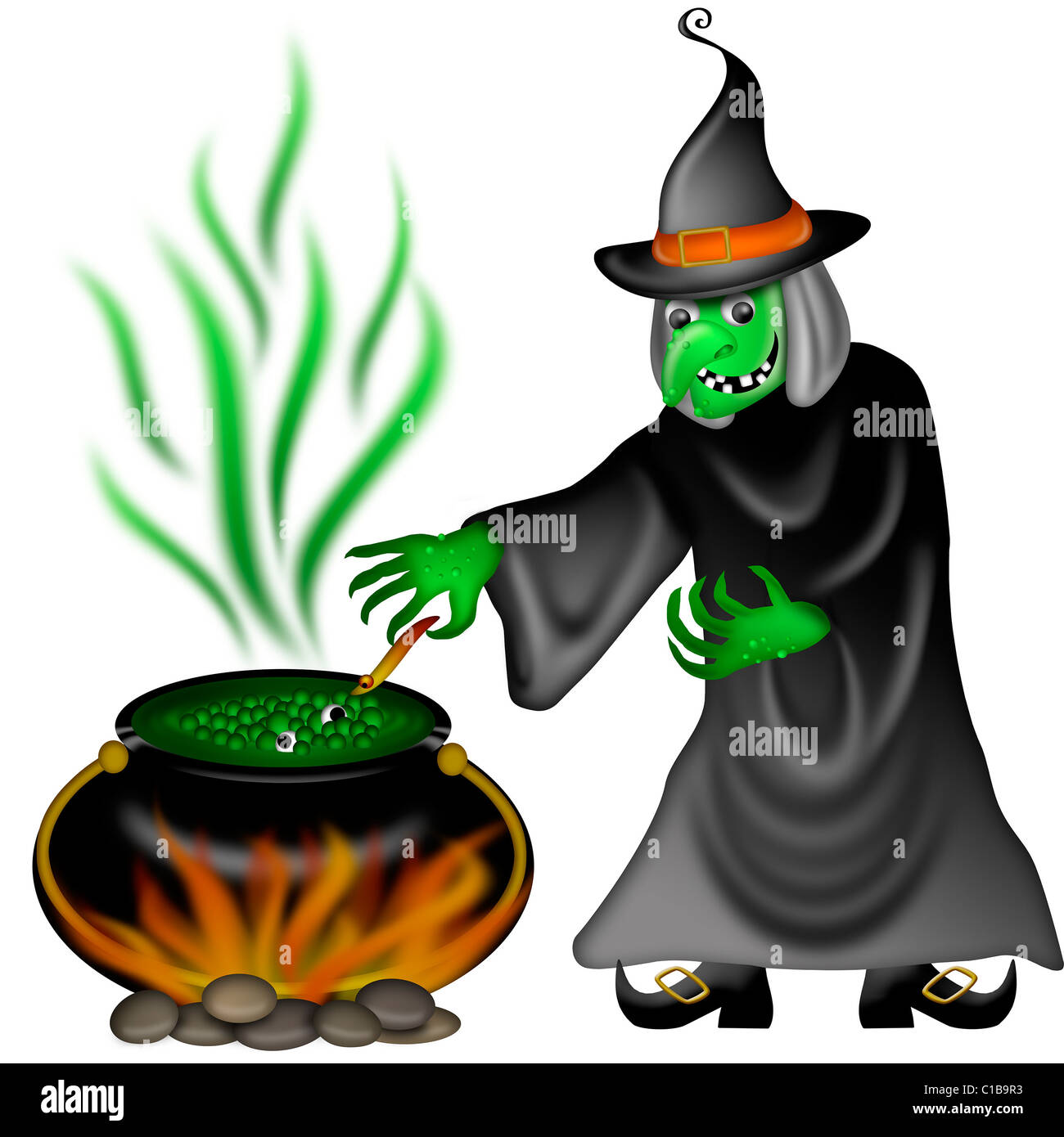 Halloween Witch with Green Face Posing Illustration - Stock Image