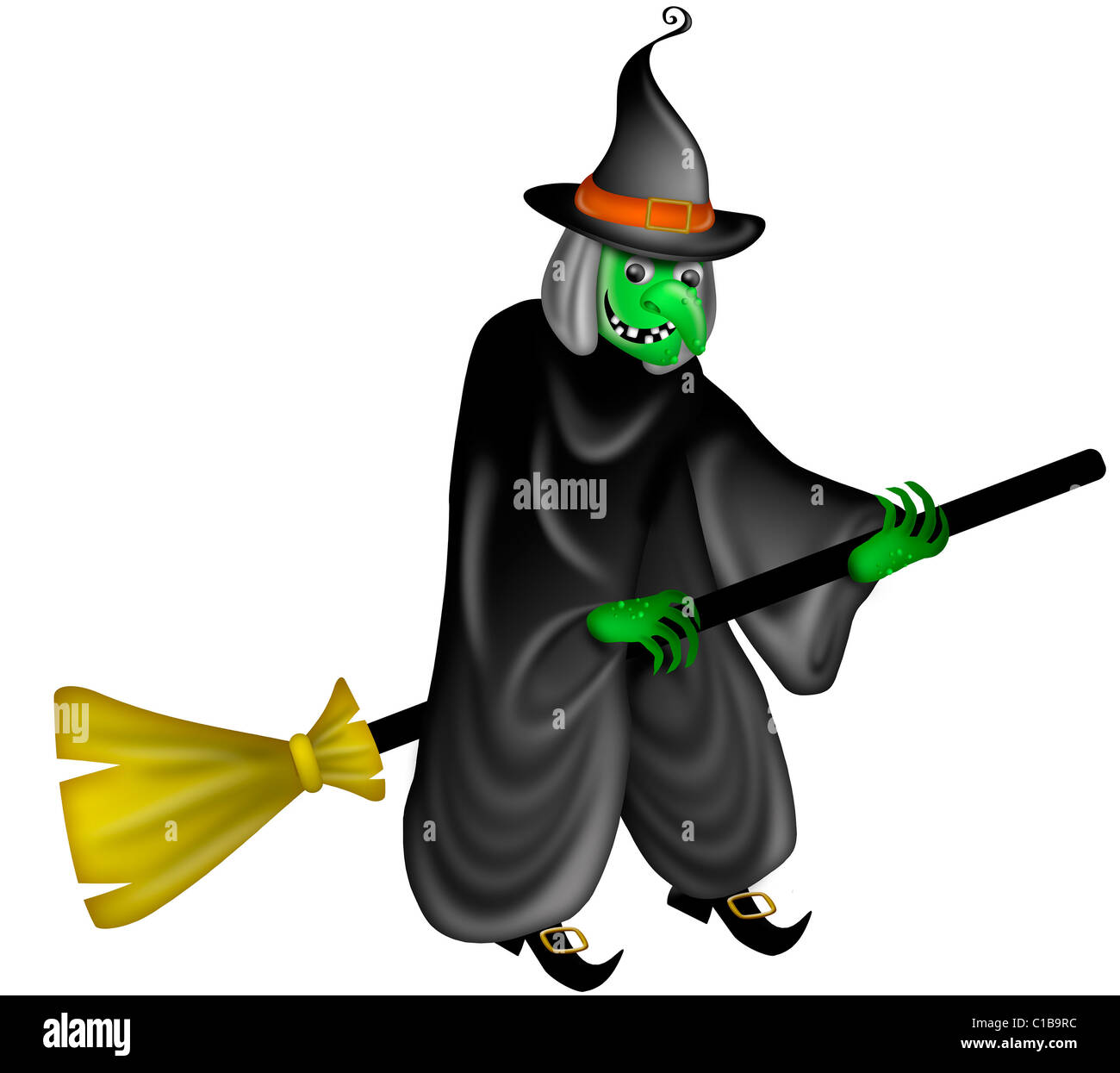 Halloween Witch Flying on Broom Stick Illustration - Stock Image