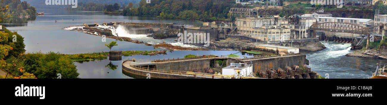 Electricity Power Plant at Willamette Falls Dam in Oregon City Panorama 3 - Stock Image