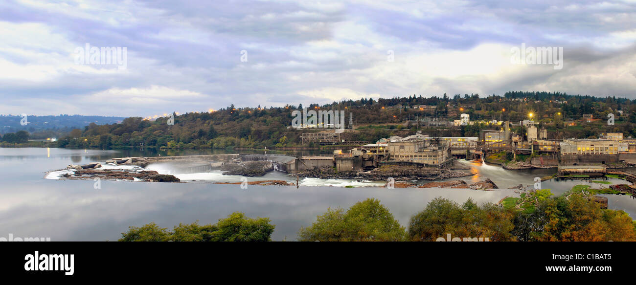 Electricity Power Plant at Willamette Falls Dam in Oregon City Panorama 4 - Stock Image