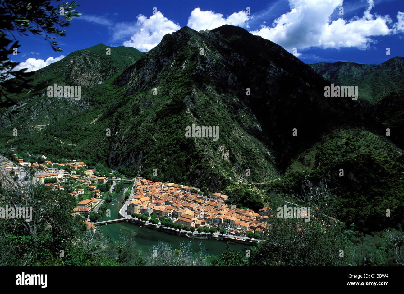 France, Alpes Maritimes, Valley of the Roya (hinterland of Nice), village of Breil sur Roya - Stock Image