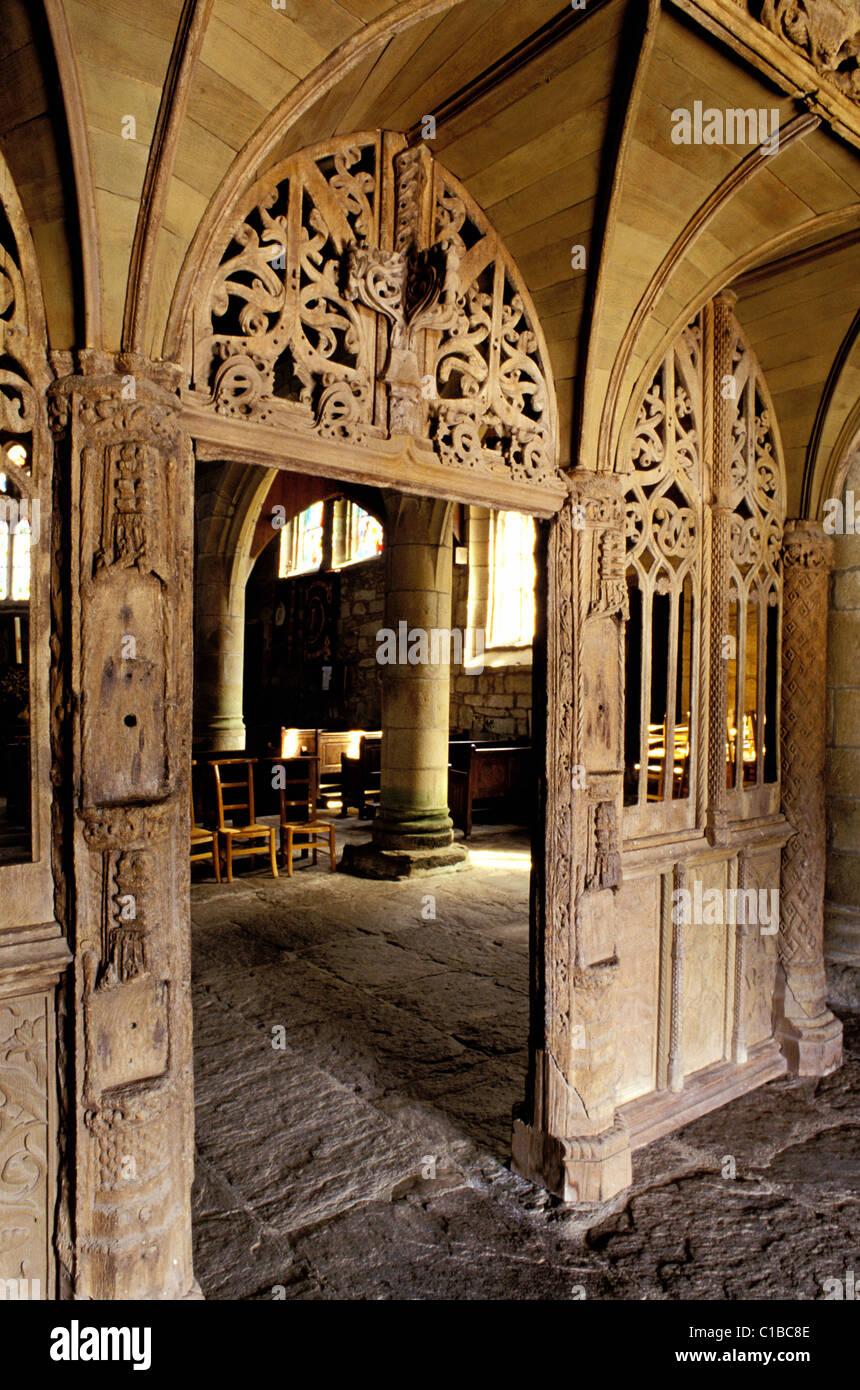 France, Cotes d'Armor, jube of the Loc Envel church Stock Photo