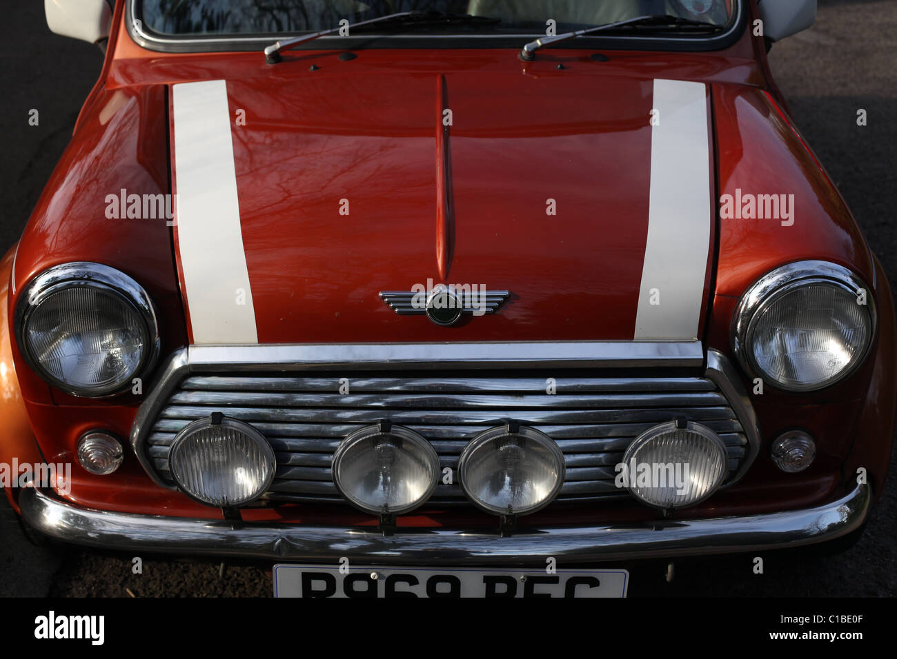 Detail of a classic Rover Mini car - Stock Image