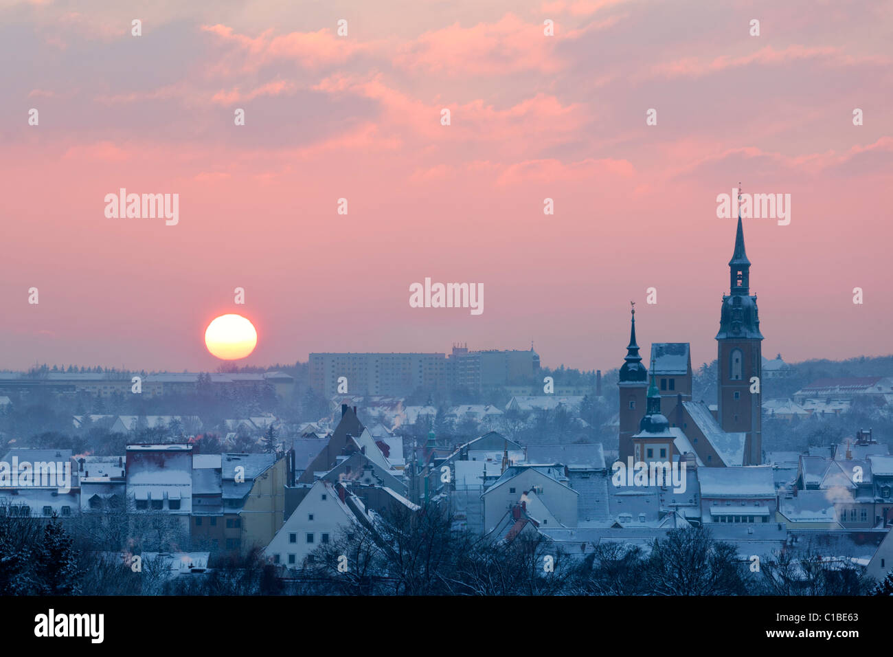 Sunset over Freiberg, Germany. - Stock Image