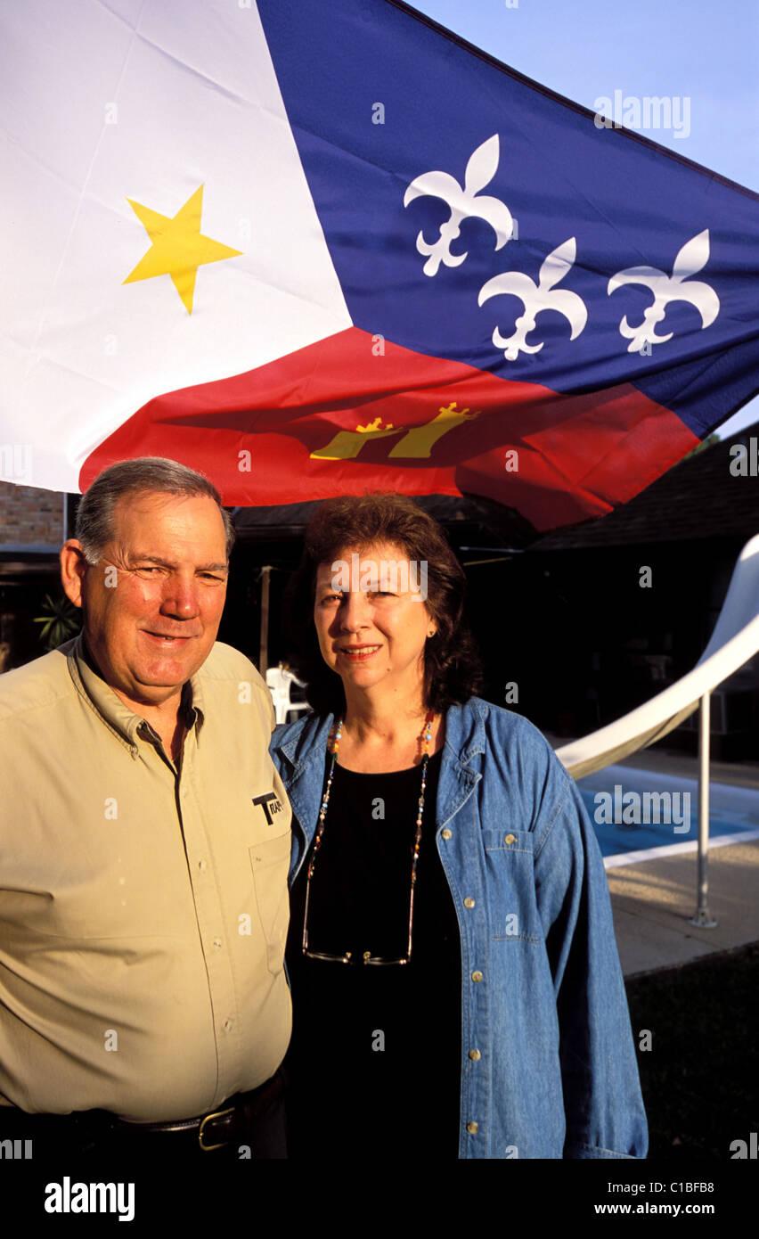 United States, Louisiana, Houma Sally and Leland Crochet, cajun flag - Stock Image