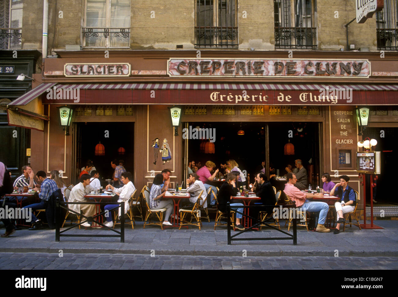 People Tourists Eating Creperie De Cluny French Restaurant Food And Drink Saint Michel Paris Ile France