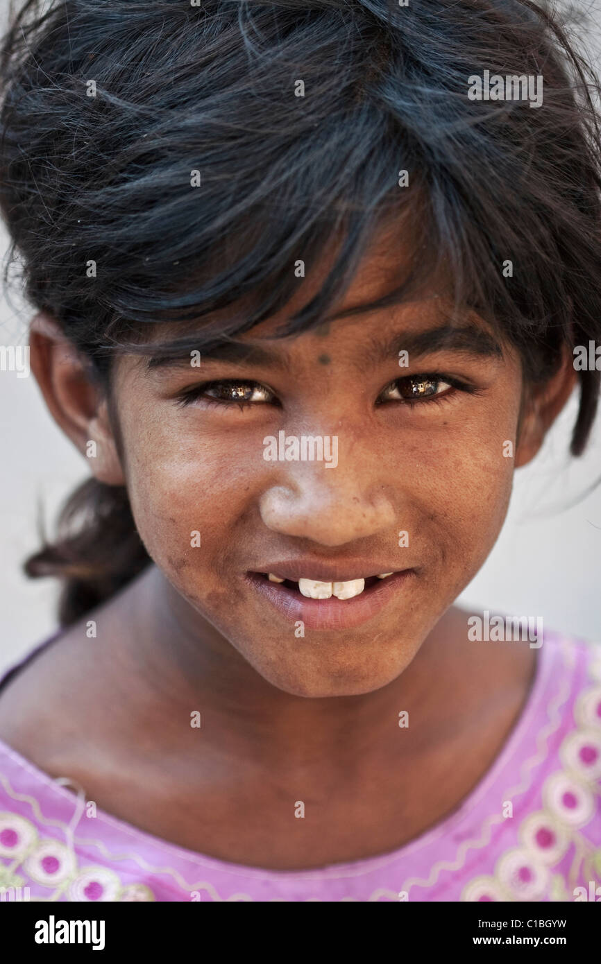 Dirty Faced Indian Street Girl With Beautiful Smile Andhra Pradesh State South India