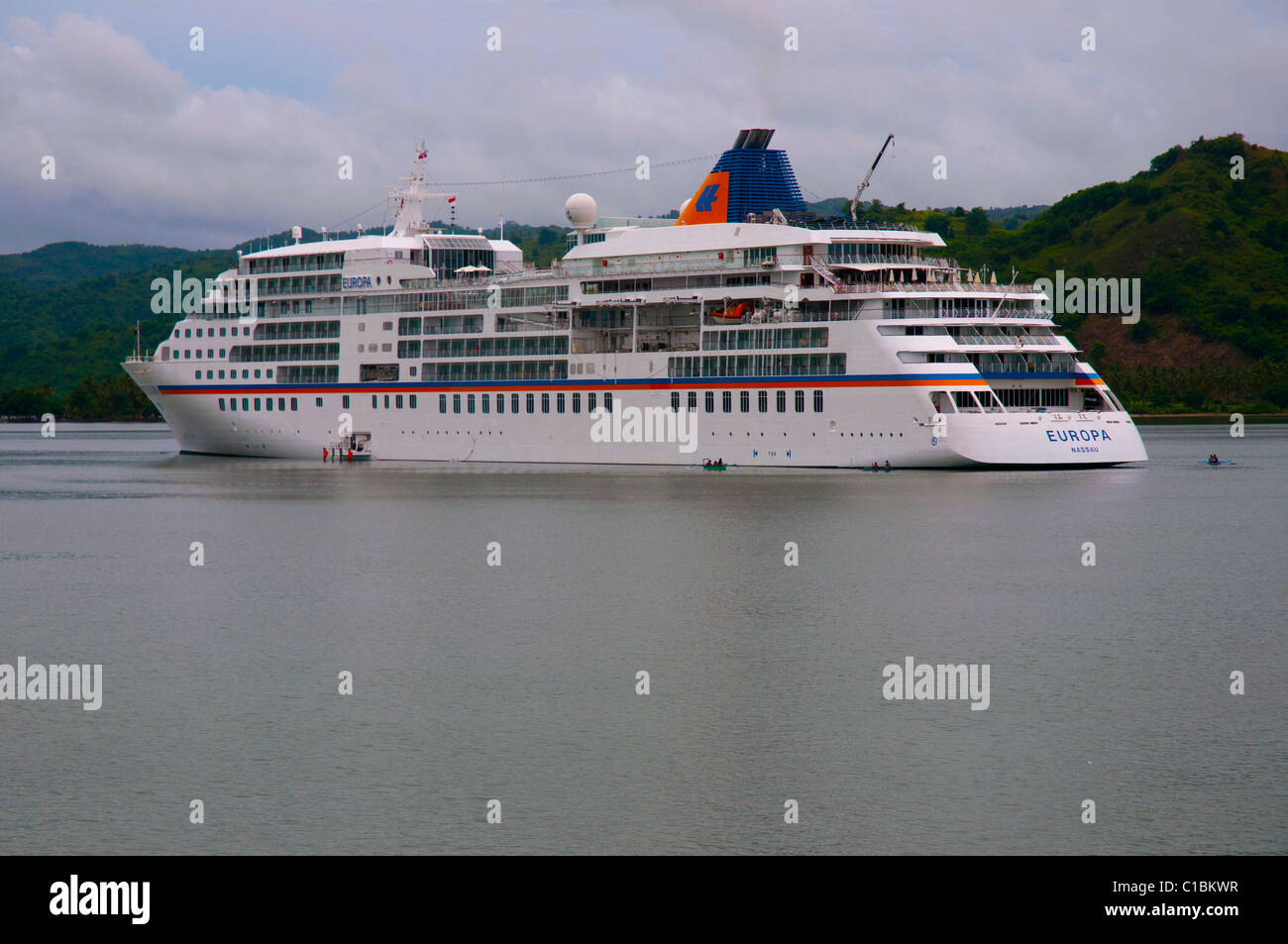 The 5 star luxury cruise liner the Europa at anchor off the island of Lombok in Indonesia - Stock Image