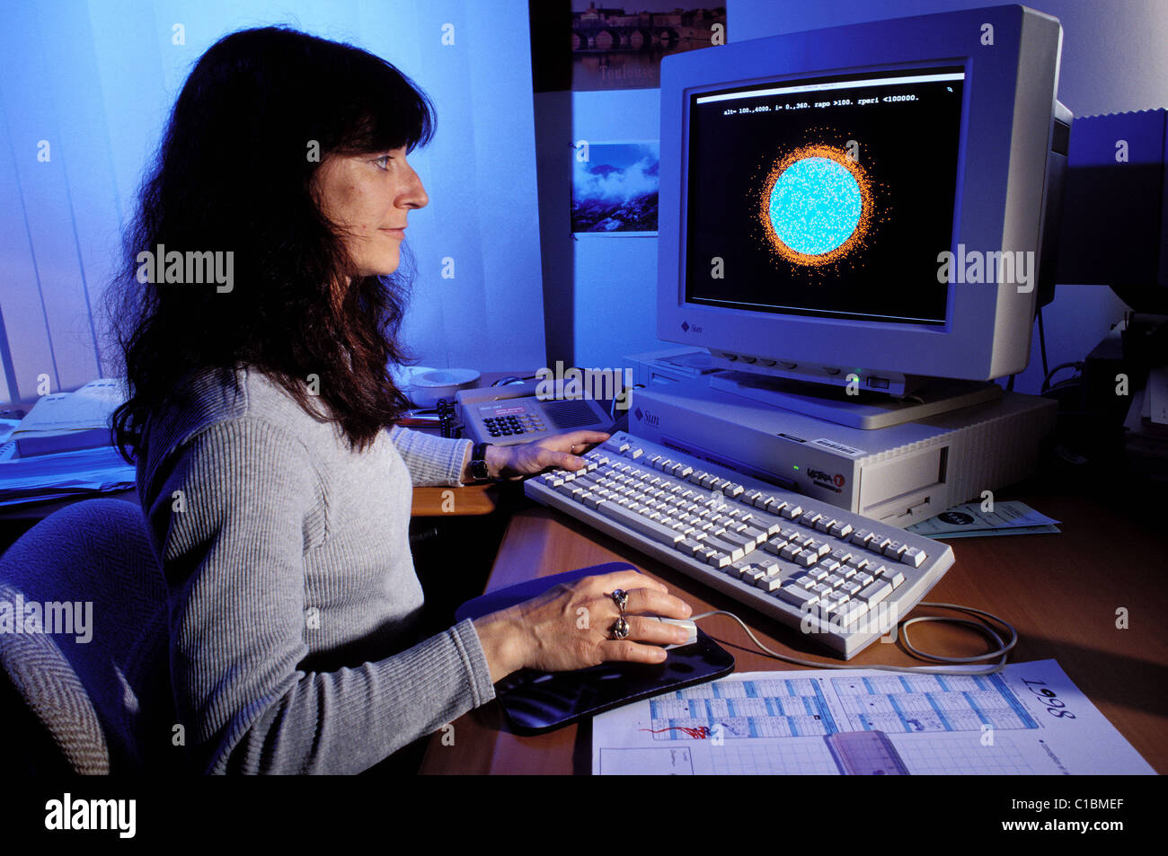 France Haute Garonne Toulouse Space Fragments at the CNES Catherine Ourtolle person in charge of the modelisation - Stock Image