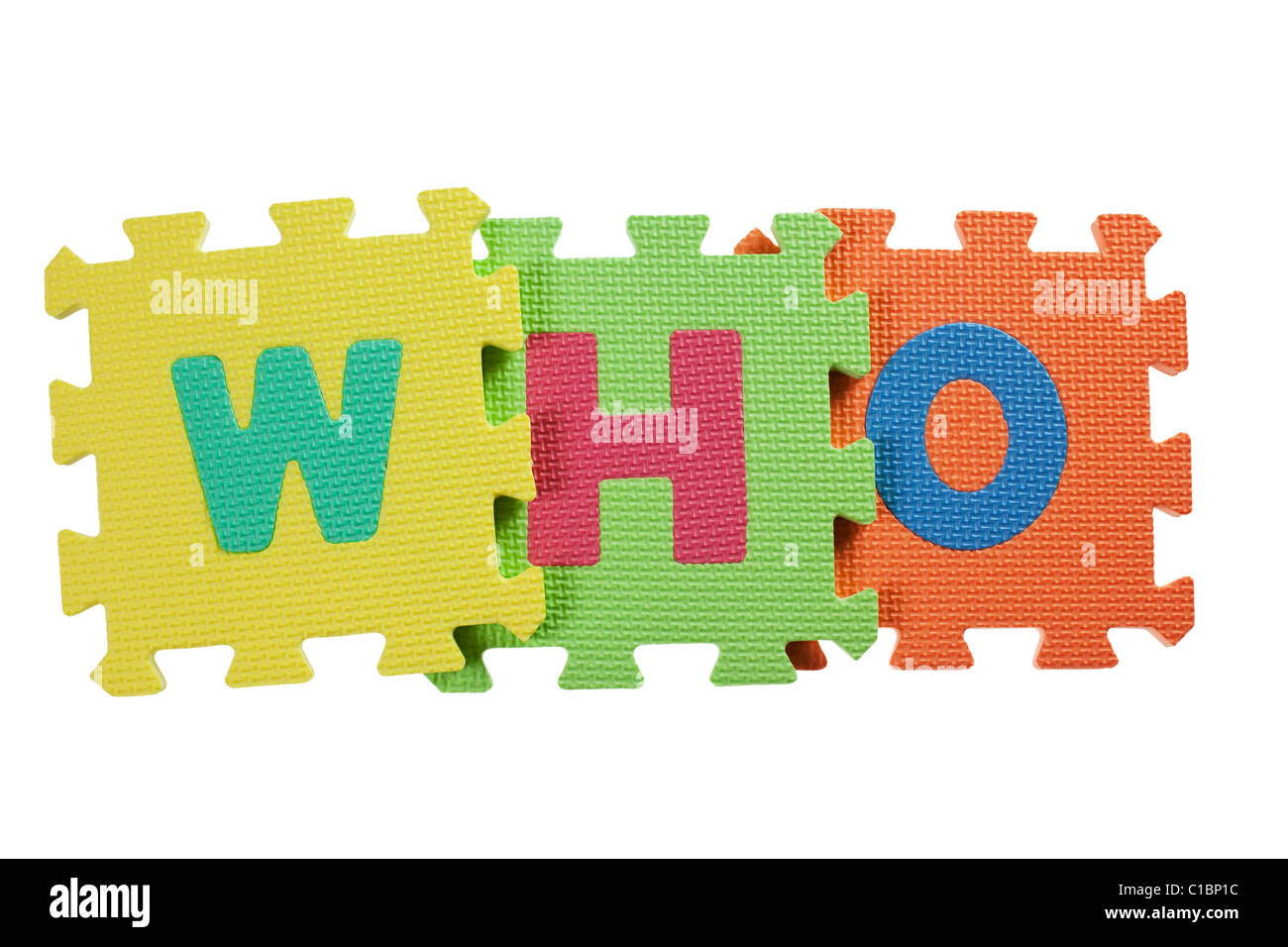 Alphabet blocks forming the word WHO isolated on white background - Stock Image