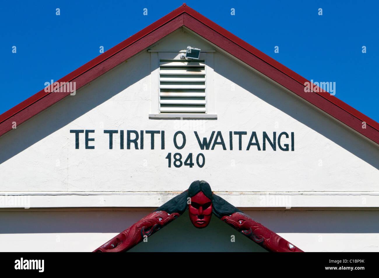 Te Tiriti O Waitangi Marae, Paihia, New Zealand - Stock Image