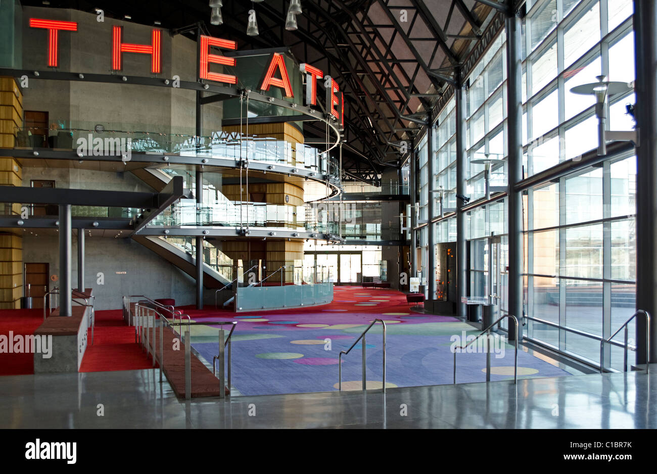 The main lobby at the Tempe Center for the Arts in Tempe, near Phoenix, Arizona, USA - Stock Image
