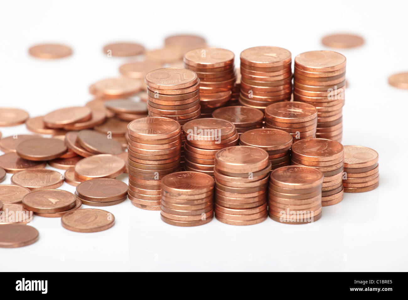 coins on white background - Stock Image