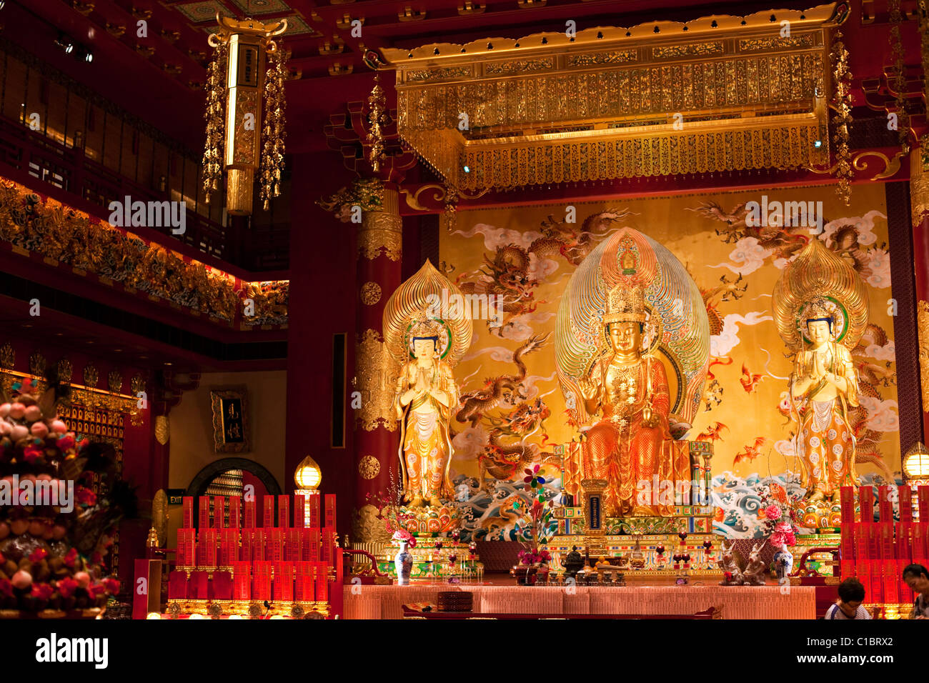 Shrine in the Buddha Tooth Relic Temple and Museum, Chinatown, Singapore - Stock Image