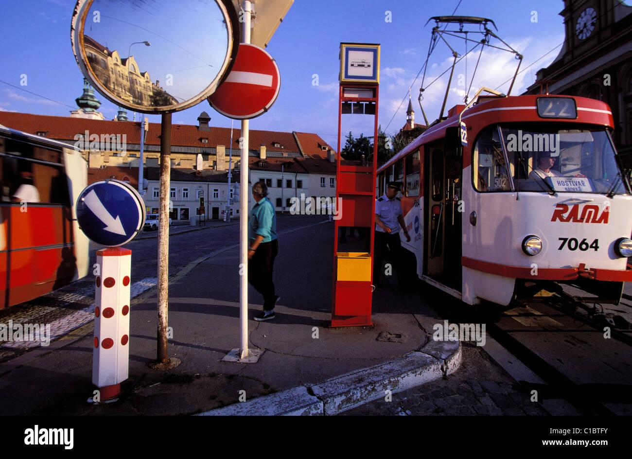 Czech Republic, Prague, painted streetcars - Stock Image