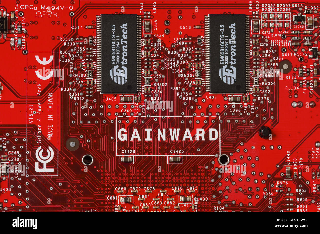 Twin Etron Tech DDR Synchronous DRAM - or SDRAM - on the printed circuit board of a Gainward graphics card Stock Photo
