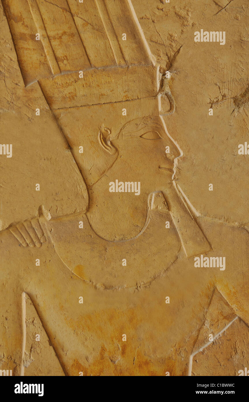 Detail of the God Amun in fine relief from the ancient Egyptian temple of Queen Hatshepsut, Thebes, Egypt - Stock Image