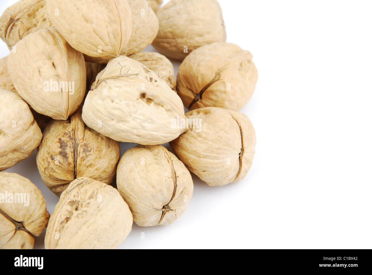 walnuts on white - Stock Image