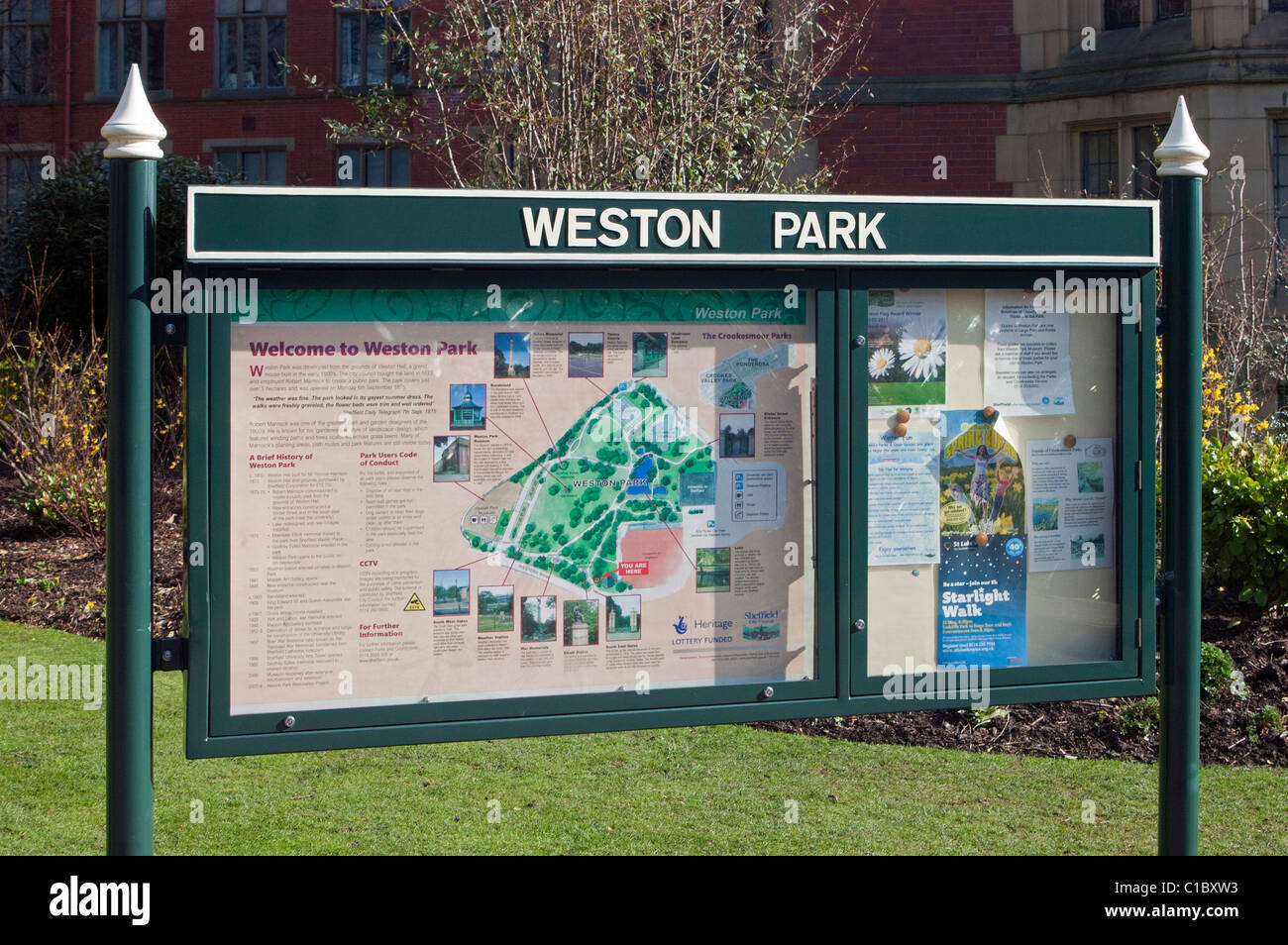 Weston Park Plan and Information Sign, Sheffield - Stock Image