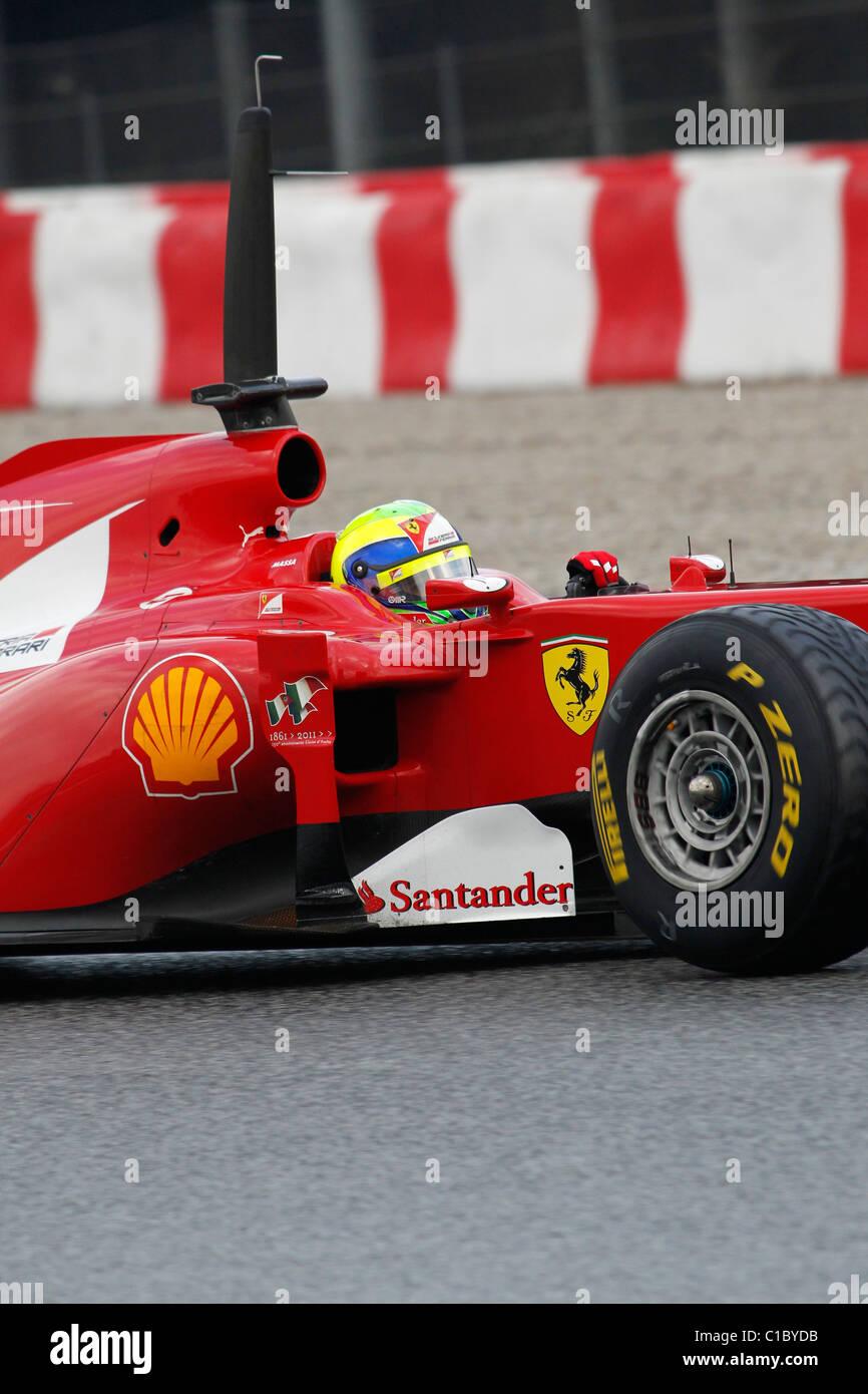 Ferrari Formula One racing driver Felipe Massa in the pit lane at Montmelo circuit Barcelona, Spain 2011 - Stock Image