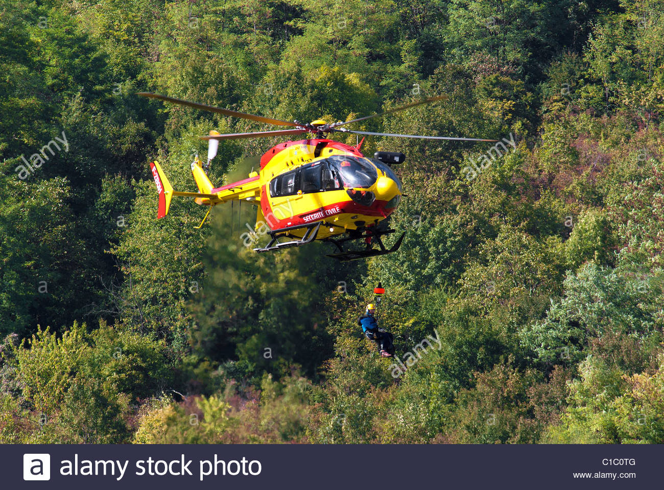 EC 145 helicopter of french search and rescue service in action - Stock Image