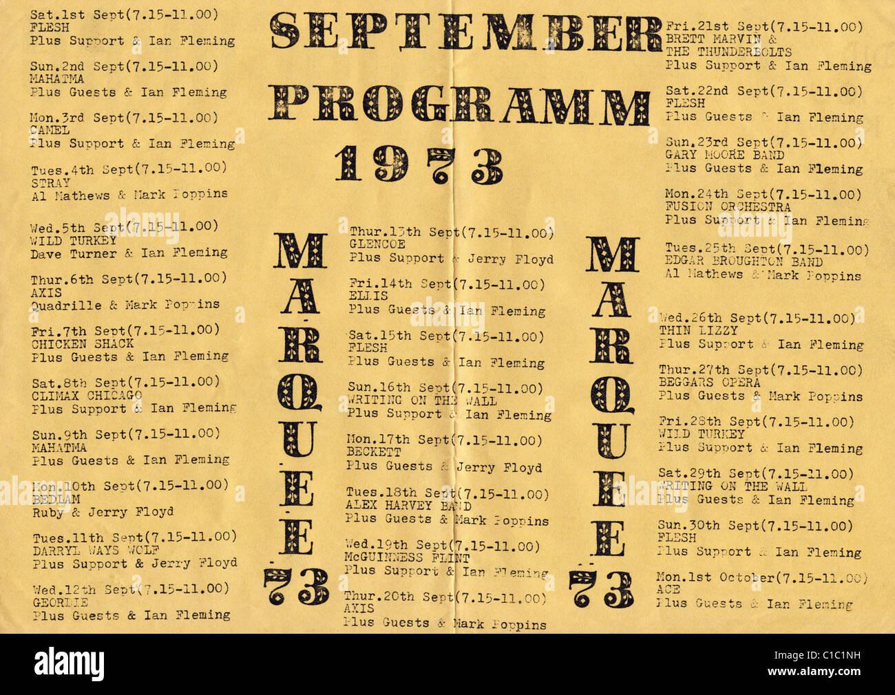 Handbill flyer for the legendary Marquee Club of Wardour Street Soho London September 1973 - Stock Image