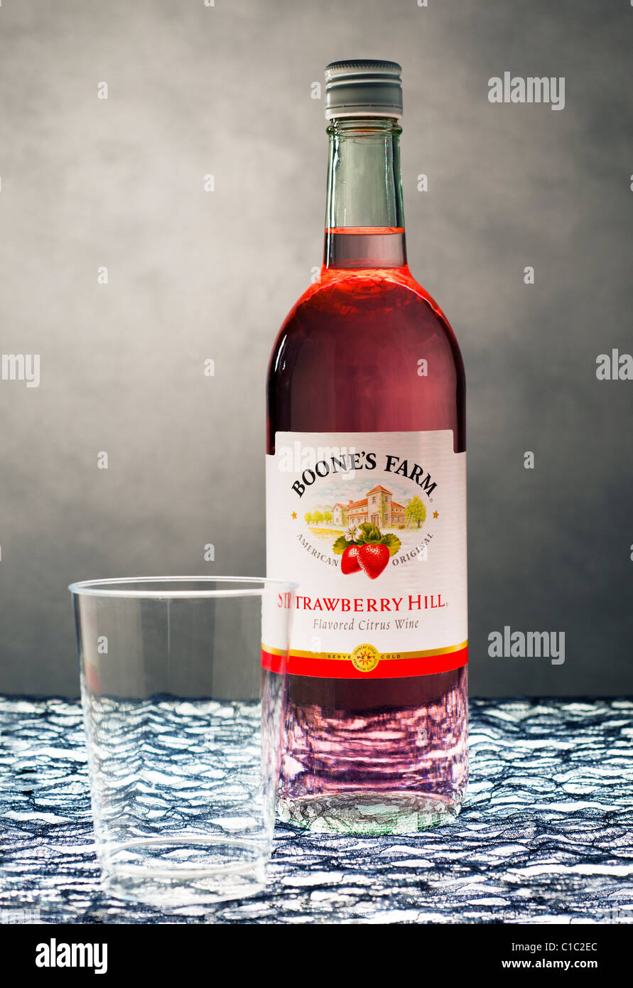 Boones Farm Strawberry Hill Wine bottle and a plastic cup - Stock Image