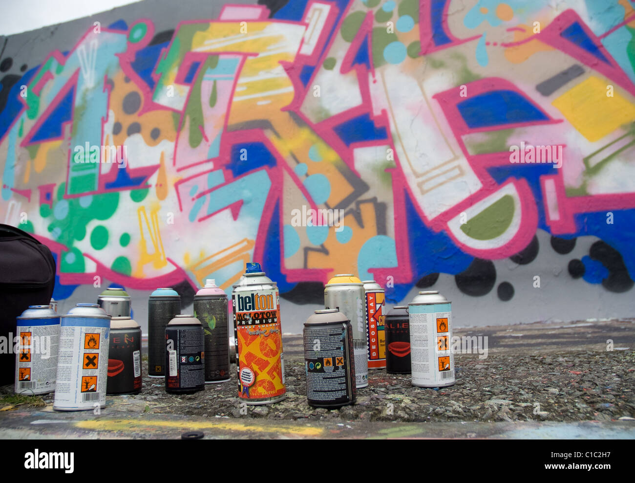 Graffiti artist`s spray paint cans Stock Photo: 35300867 - Alamy