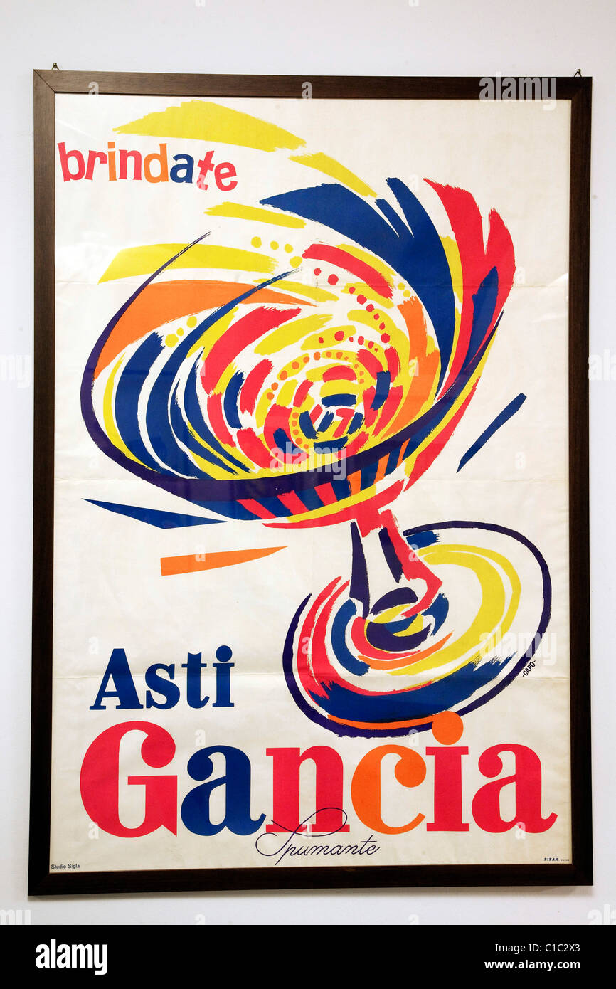 Gancia underground wine cathedral in Canelli, vintage advertisment poster of the company,  Asti, Piedmont, Italy, - Stock Image