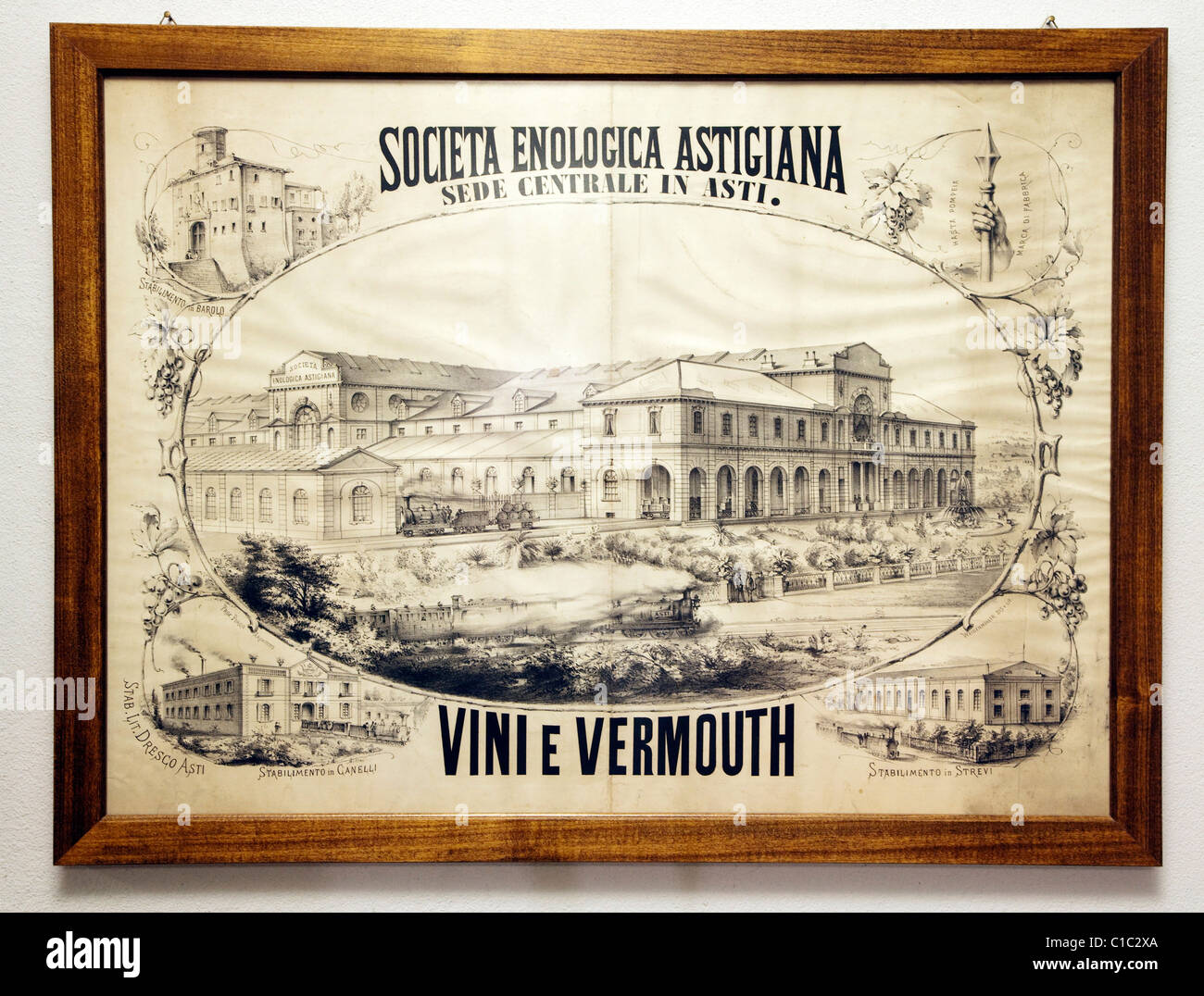 Gancia underground wine cathedral in Canelli, the oldest advertisment poster of the company,  Asti, Piedmont, Italy, - Stock Image