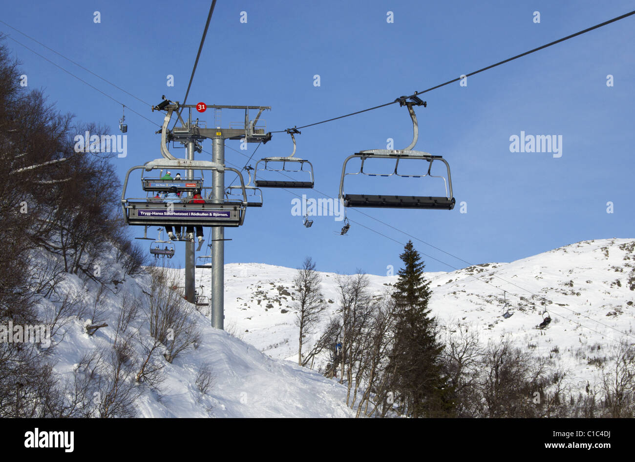Chairlifts in Swedish ski resort of Åre (Are) Stock Photo
