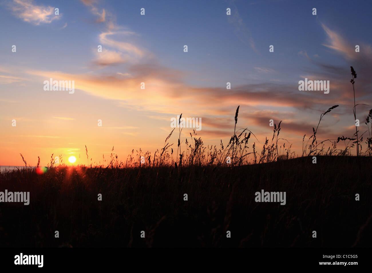 Sunset in  Skane, Sweden - Stock Image