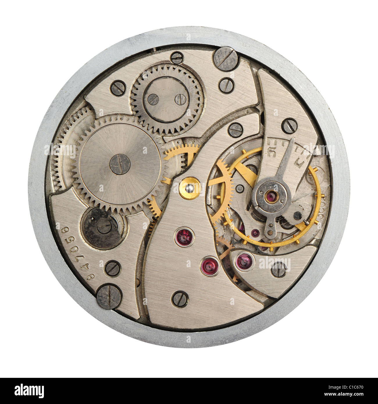 The mechanism of analog hours. A photo close up - Stock Image