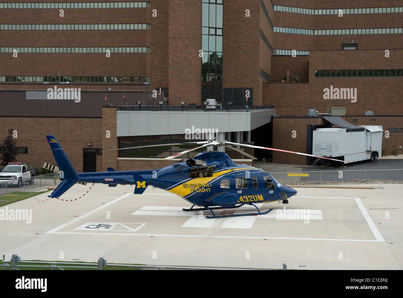 University Michigan Hospital Survival Flight Stock Photos