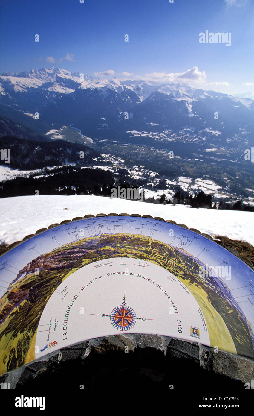 France, Haute Savoie, Valley of The Haut Giffre, view point of La Bourgeoise at Joux Plane mountain pass - Stock Image