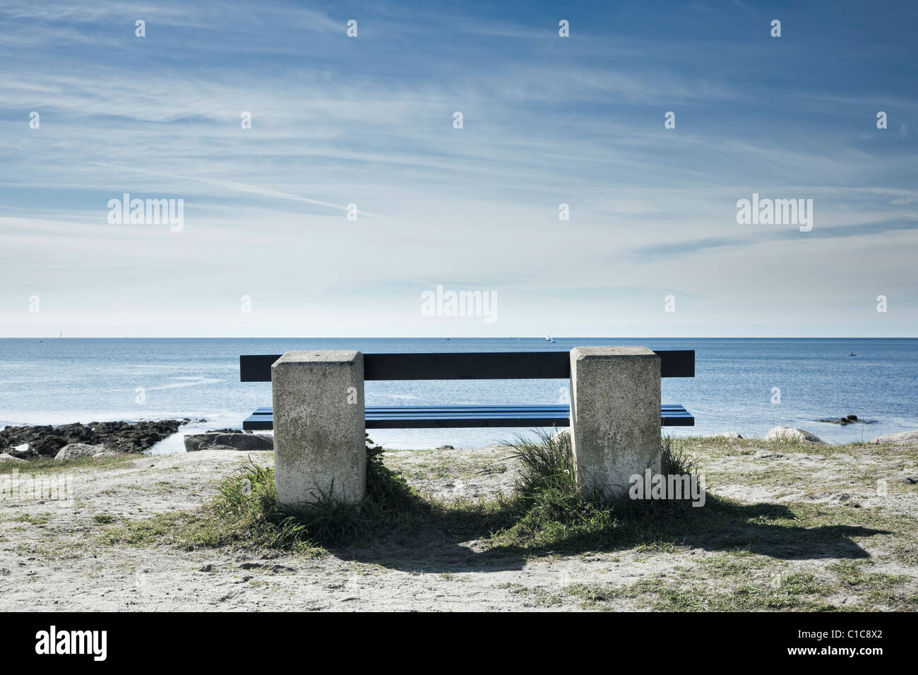 Bench overlooking the ocean, France, Europe - Stock Image