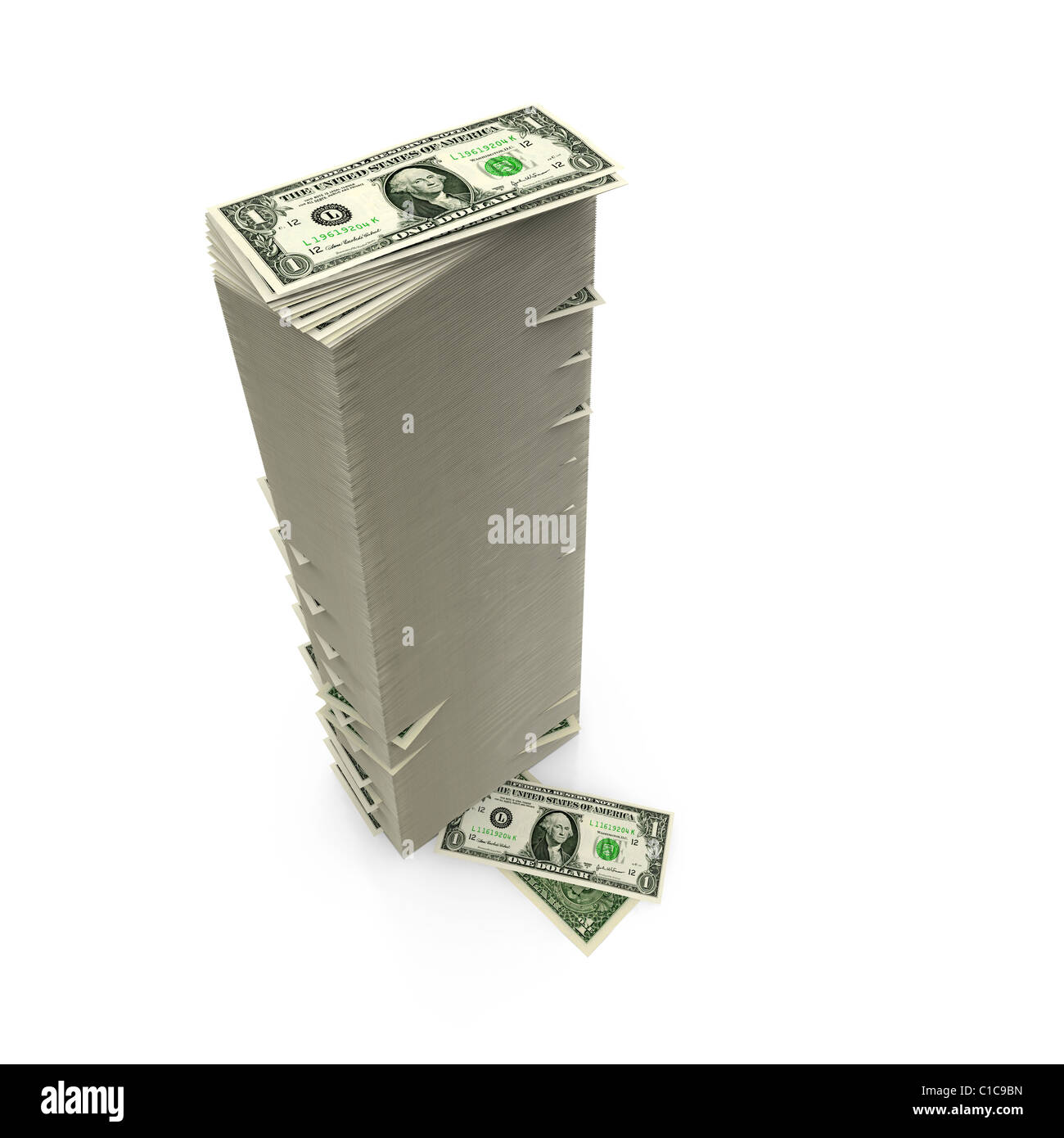 Dollar Bills on white - tall stack - Stock Image