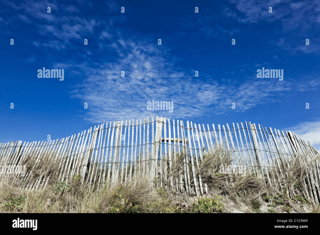 Wooden picket fence on sand dune with blue sky, France, Europe - Stock Image