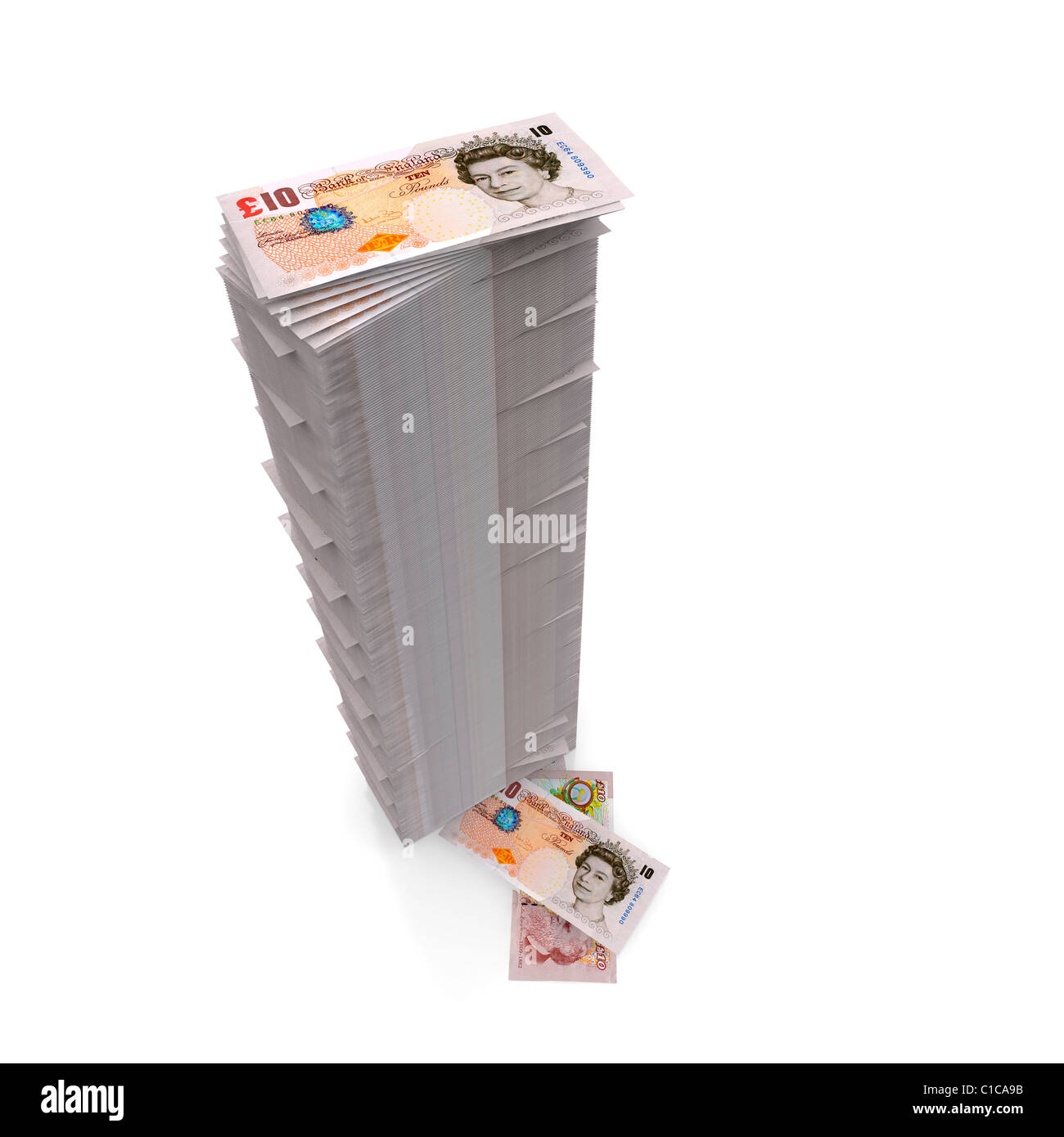 Money stack - Tall pile of Ten Pound notes Sterling on white - Stock Image