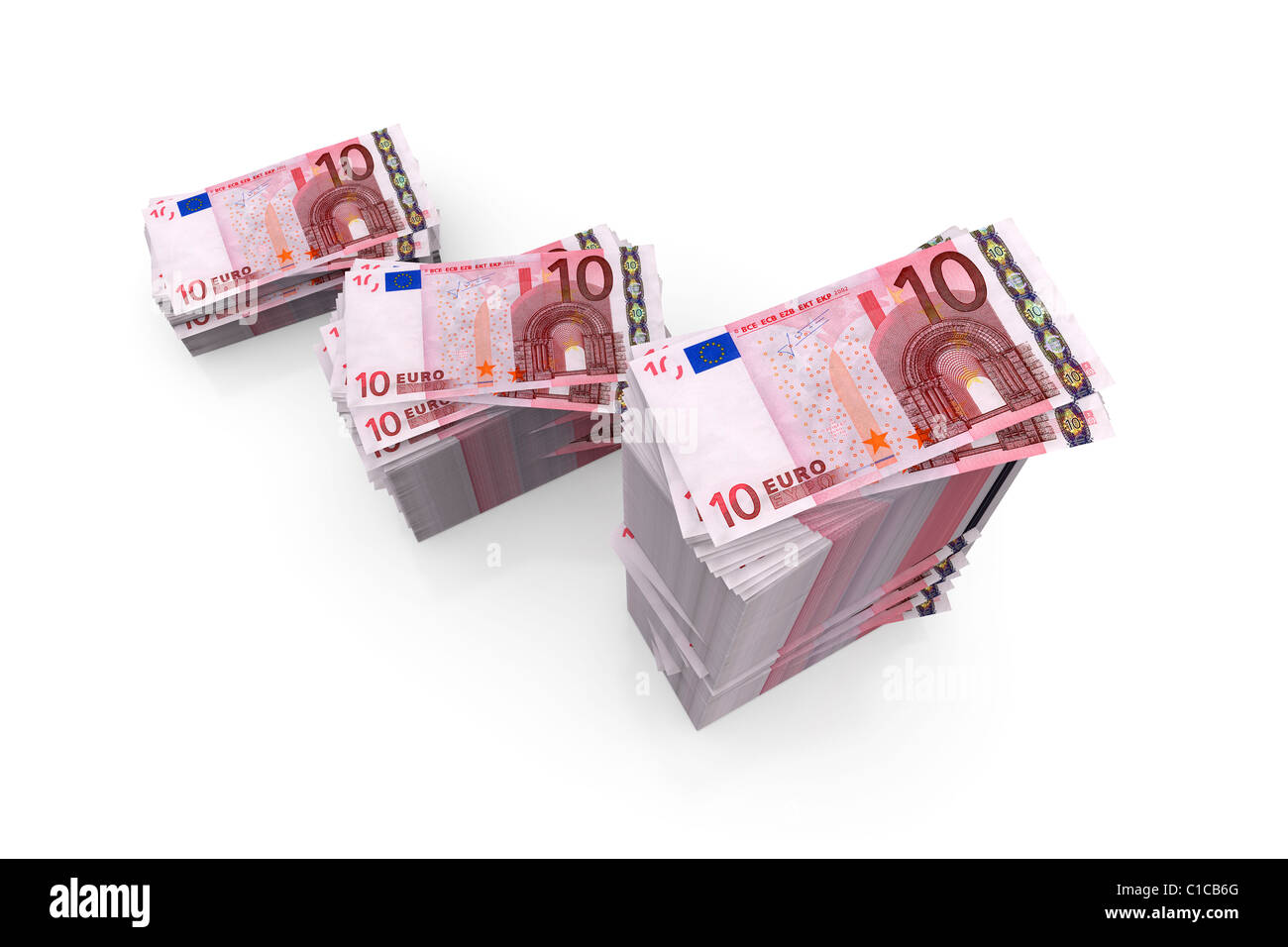 Piles of 10 Euro banknotes currency, stack on white background - Stock Image
