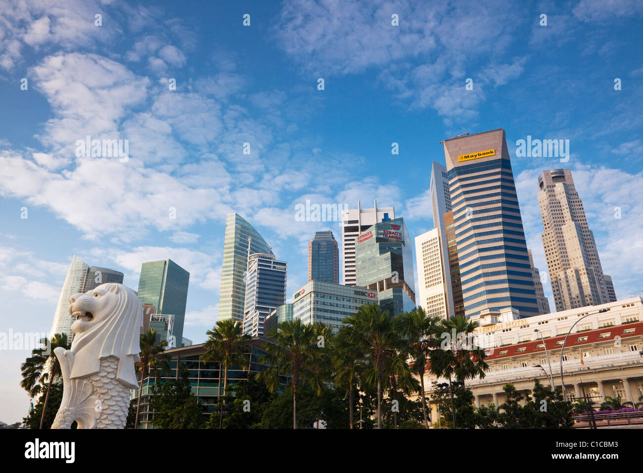 The Merlion Statue With City Skyline In Background Marina Bay Singapore