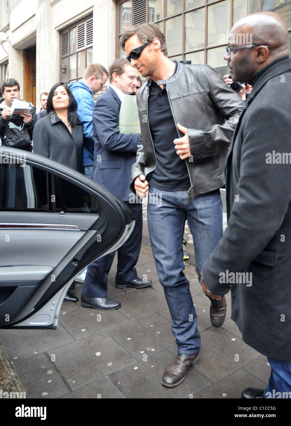 Hugh Jackman leaving the Radio One studios. The antipodean hunk is in the city ahead of the release of his forthcoming - Stock Image