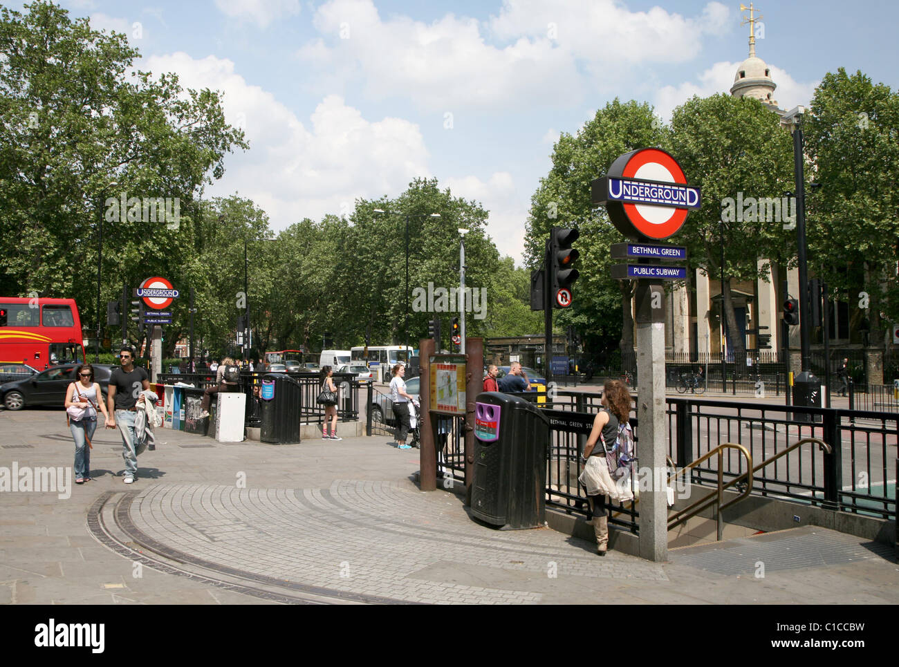 General View GV of Bethnal Green underground station in London, England. - Stock Image