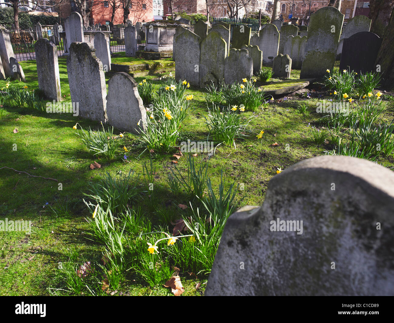 Bunhill Fields, in the City of London, since 1660s has been a burial ground for dissenters and non-conformists - Stock Image