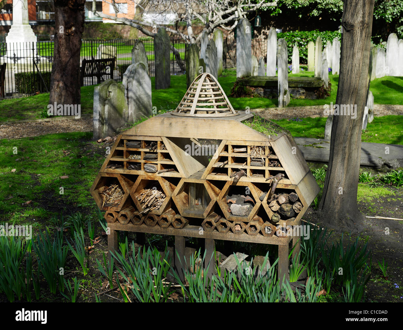 InnVertebrate in Bunhill Fields by ORTLOS providing invertebrates with habitat of different sized cavities - Stock Image