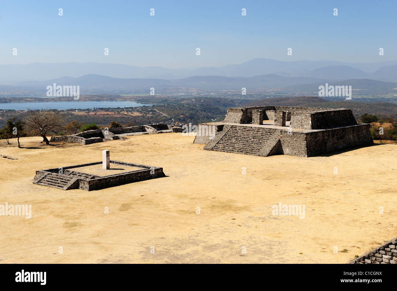 Plaza of the Two-Glyph Stela with western platform and temple in background at Xochicalco in Morelos State, Mexico - Stock Image