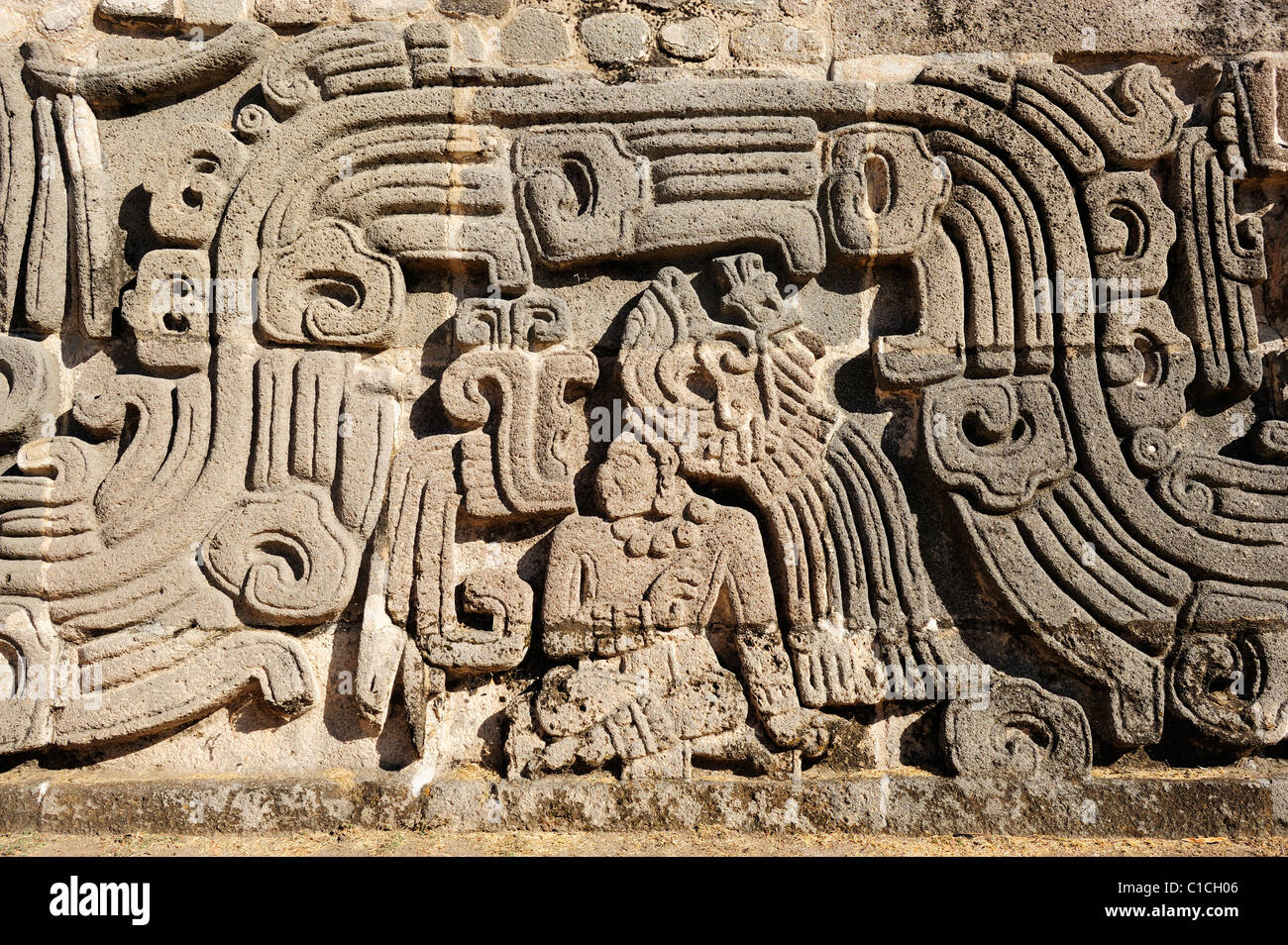 Wall relief from Pyramid of the Feathered Serpent at Xochicalco in Morelos State, Mexico - Stock Image