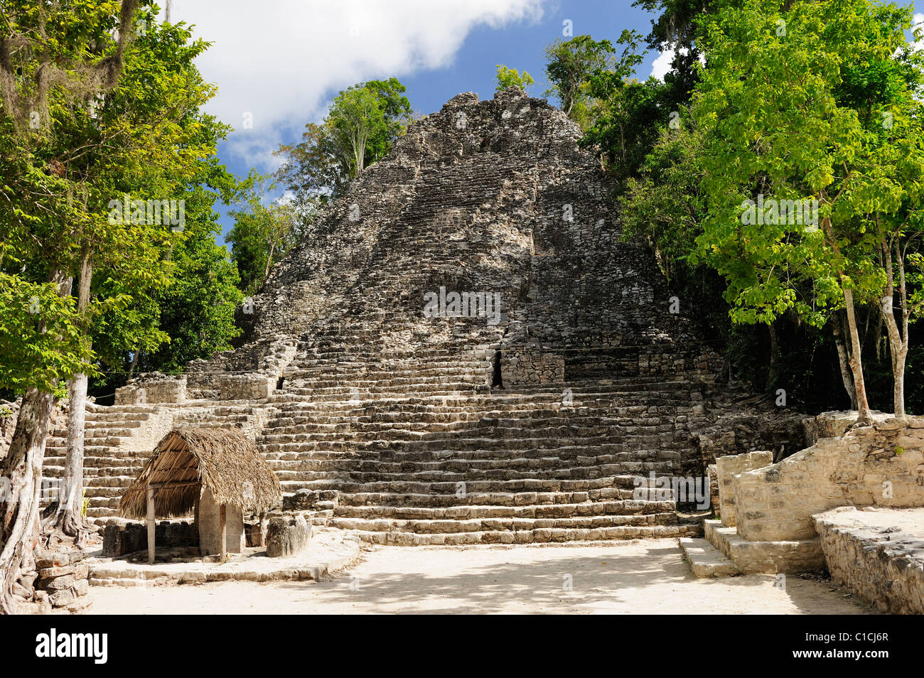 La Iglesia (the Church) in the ruins of Coba in Quintana Roo State, Mexico - Stock Image