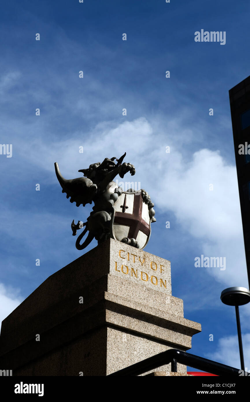 City of London Griffin Boundary marker on London Bridge. - Stock Image