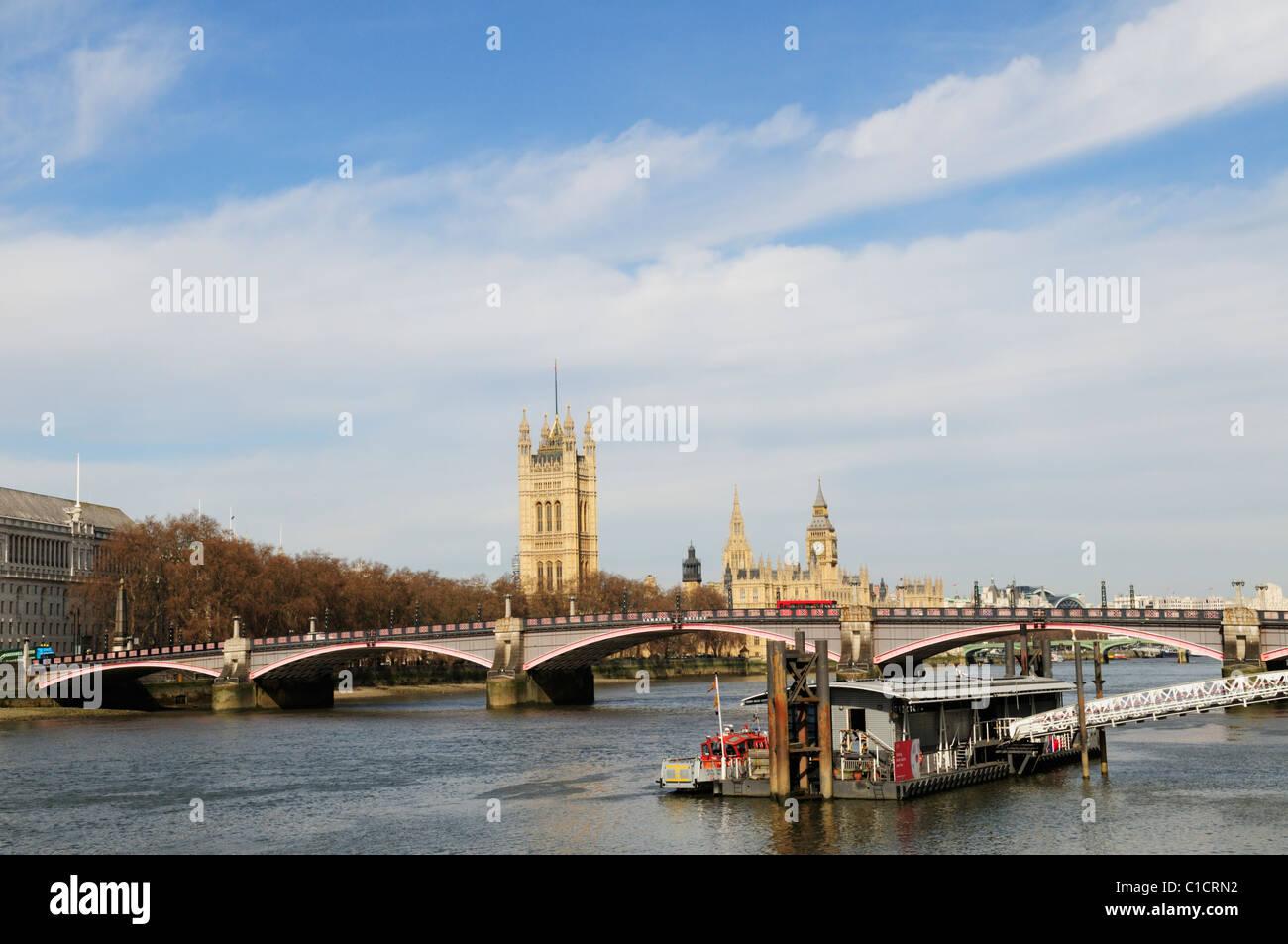 Lambeth Bridge with London Fire Brigade Pier, London, England, UK - Stock Image